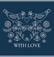 ethno love decorative folk ornament print vector image