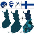 Finland map with named divisions vector image vector image