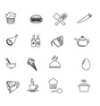 food icons editable line icons set on black and vector image vector image