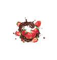 fresh strawberries and a splash liquid vector image vector image