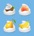 fruit and yogurt banana pear peach and coconut vector image