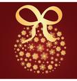 Golden snowflakes ball vector image