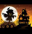 halloween scarecrow silhouette theme 2 vector image vector image