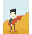 Happy chinese guy holding arrow up sign vector image vector image