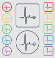 Heartbeat icon sign symbol on the Round and square vector image