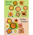 Italian and spanish cuisine fresh dinner icon vector image vector image