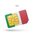 Italy mobile phone sim card with flag vector image