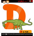 letter d with dinosaur cartoon vector image vector image