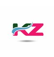 Letter k and z logo vector image vector image