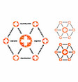 medical network mosaic icon rugged pieces vector image vector image