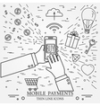Mobile payments using a smartphone Online shopping vector image