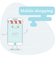 mobile shopping concept in line art style vector image vector image