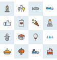 new icons colored line set with firecracker vector image vector image
