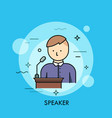 person in purple shirt standing at lectern with vector image vector image