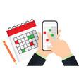 planning on smartphone in calendar app vector image vector image
