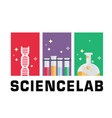 science lab dna test tube beaker background vector image