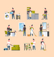 set men doing housework different housecleaning vector image