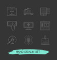 set of webdesign icons line style symbols with bug vector image vector image