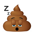 shit icon sleep face poop emoticon vector image vector image