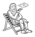 snowman yeti smoking sketch engraving vector image