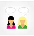 two girls talking to each other vector image vector image
