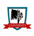 University emblem with shield and banner vector image
