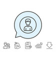 user line icon male profile sign vector image vector image