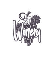 winery logo template wine grape with calligraphic vector image