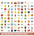 100 recreation training icons set flat style vector image vector image