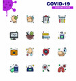 16 flat color filled line viral virus corona icon vector image vector image