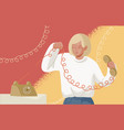 adorable blonde woman holding telephone handset vector image