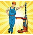 Beautiful professional Builder with electric drill vector image vector image