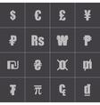 black currency symbols set vector image vector image