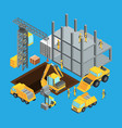 building construction stage isometric transport vector image