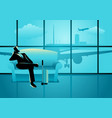 businessman waiting his flight at the airport vector image vector image