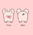 cartoon cute pink pig drawn with a tablet vector image vector image