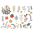 christmas floral collection with winter decorative vector image