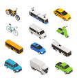 city transport isometric icon set vector image