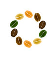 coffee beans symbol arranged in round frame vector image