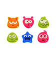 cute funny colorful jelly characters set user vector image vector image