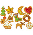 decorated gingerbread christmas cookies vector image