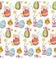 easter bunny on decorated egg with ribbon seamless vector image