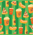 fast food seamless pattern snack drinks vector image