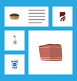flat icon food set of beef yogurt bottle and vector image vector image