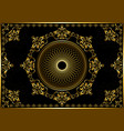 frame with gold ornament on black background vector image vector image