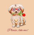 funny puppy in glasses hearts with with a red vector image vector image