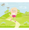 girl runs away from mosquitoes vector image