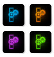 glowing neon wrist watch and gear icon isolated vector image vector image