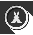 grey button with back Easter bunny vector image vector image