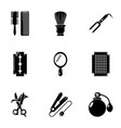 hairdressing icons set simple style vector image vector image